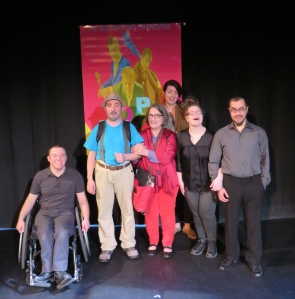 The cast of the 2015 production of I Love Mondays (L-R): Adam Grant Warren, Jonah Killoran, Darlene Brookes, Lindsay Drummond, Lianne Crowe & Angelo Moroni.