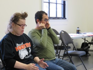 Lianne Crowe & Angelo Moroni during the workshop for I Love Mondays