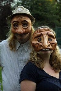 Robin and Willow in mask rehearsal for BEING Animal